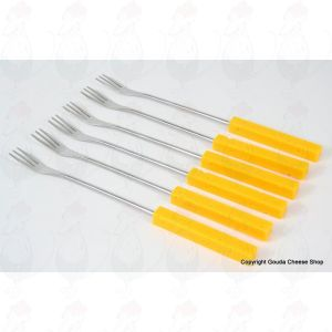 Cheese fondue forks - Cheese - yellow plastic handle, 6pcs