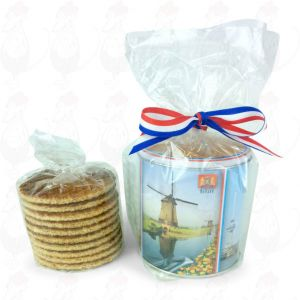 Tio handgjorda goudakex i en färgad, holländsk kakburk!