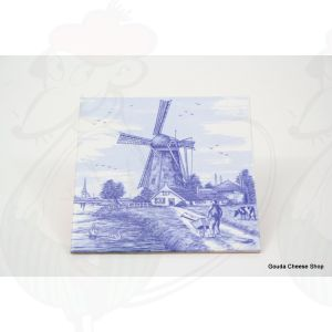 Delft Blue Tile Farmer with wheelbarrow