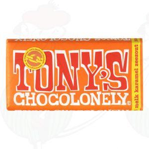 Tony's Chocolonely Melk/ karamel/ zeezout - 180gr.